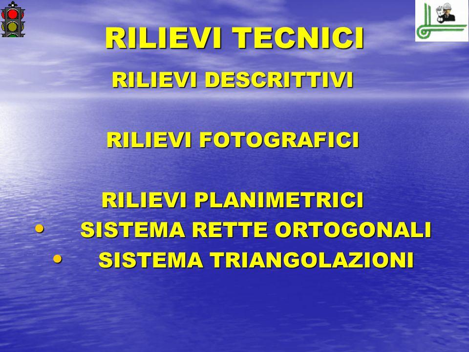 RILIEVI TECNICI RILIEVI DESCRITTIVI RILIEVI FOTOGRAFICI