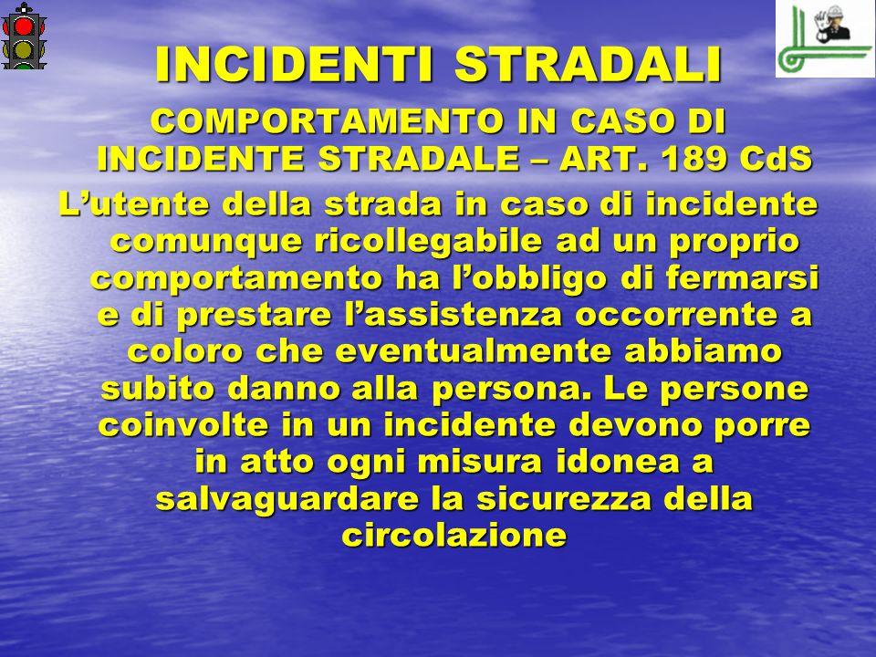 COMPORTAMENTO IN CASO DI INCIDENTE STRADALE – ART. 189 CdS