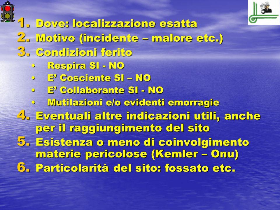 Dove: localizzazione esatta Motivo (incidente – malore etc.)
