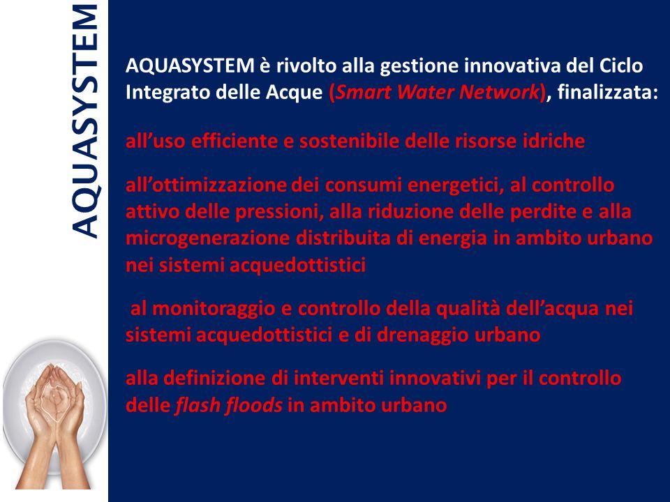 AQUASYSTEM è rivolto alla gestione innovativa del Ciclo Integrato delle Acque (Smart Water Network), finalizzata: