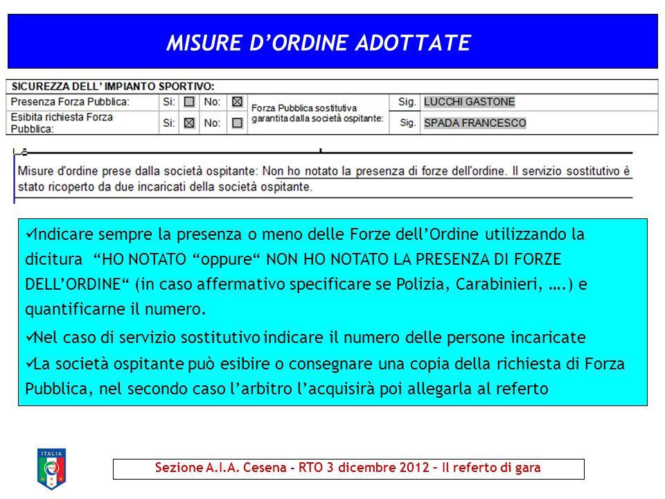 MISURE D'ORDINE ADOTTATE