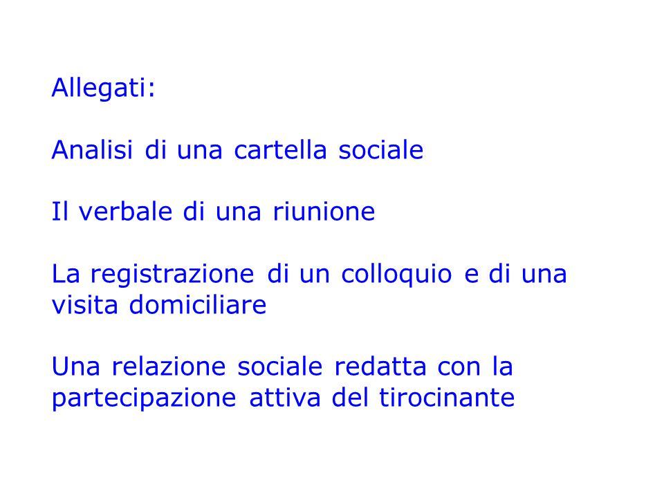 Allegati: Analisi di una cartella sociale. Il verbale di una riunione. La registrazione di un colloquio e di una visita domiciliare.