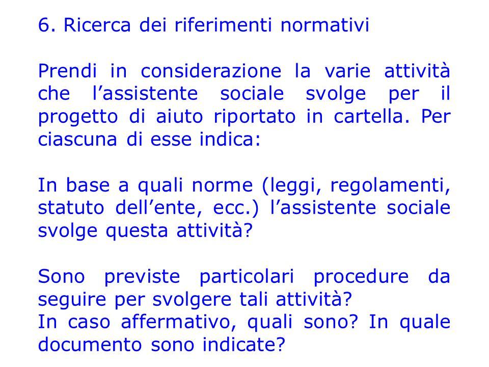 6. Ricerca dei riferimenti normativi