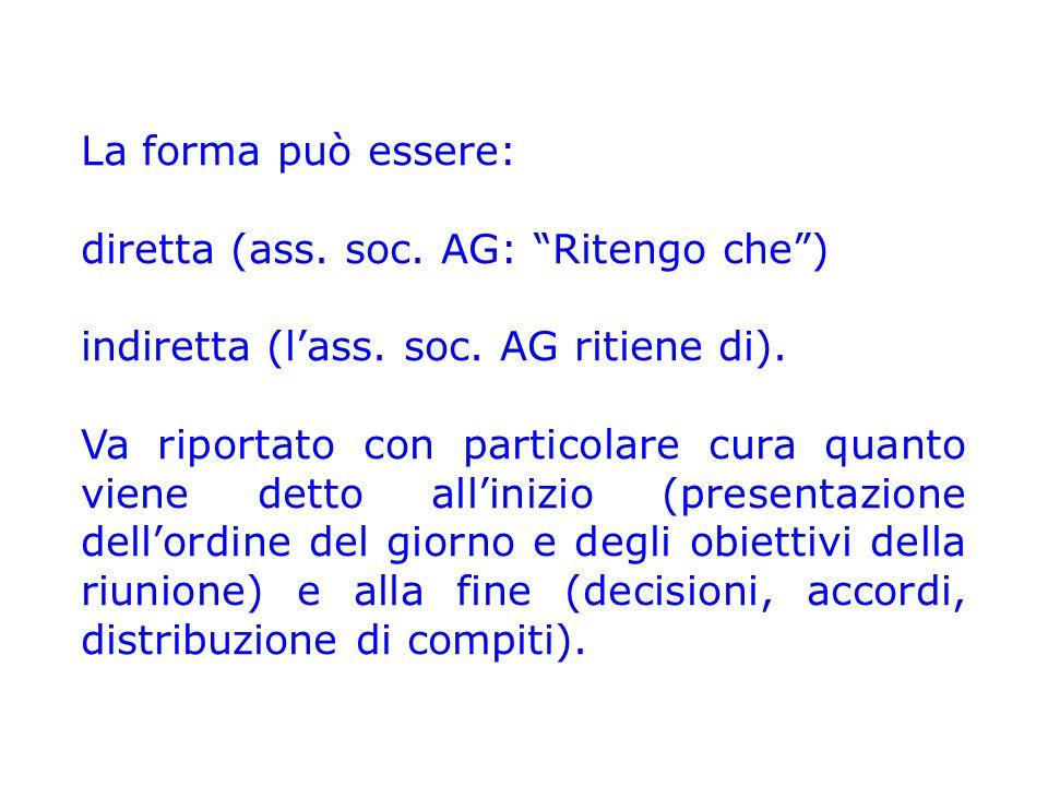 La forma può essere: diretta (ass. soc. AG: Ritengo che ) indiretta (l'ass. soc. AG ritiene di).
