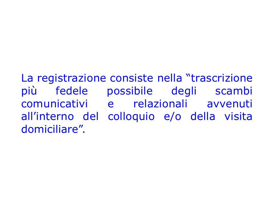La registrazione consiste nella trascrizione più fedele possibile degli scambi comunicativi e relazionali avvenuti all'interno del colloquio e/o della visita domiciliare .