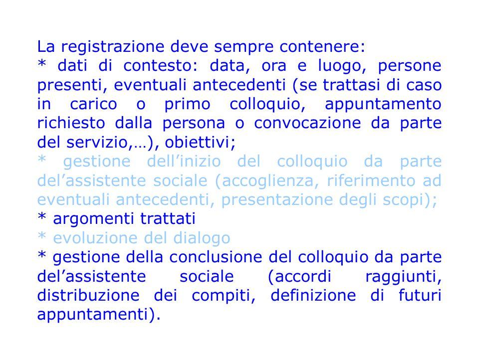 La registrazione deve sempre contenere: