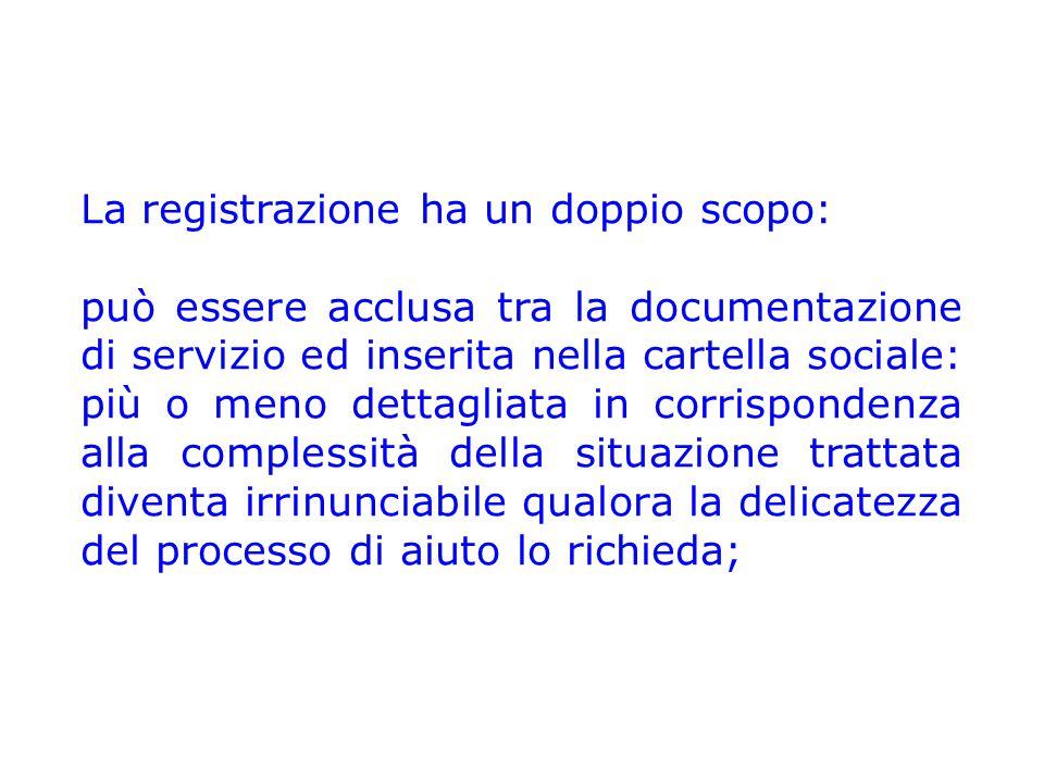La registrazione ha un doppio scopo: