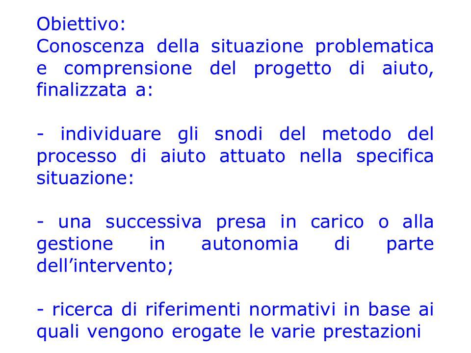 Obiettivo: Conoscenza della situazione problematica e comprensione del progetto di aiuto, finalizzata a: