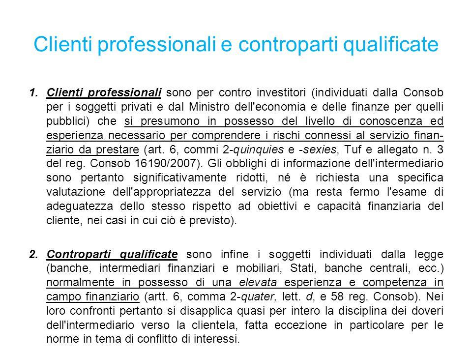 Clienti professionali e controparti qualificate