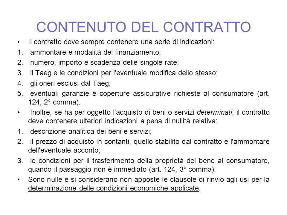 CONTENUTO DEL CONTRATTO