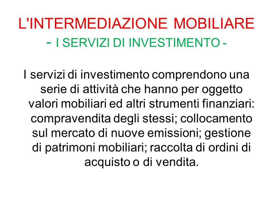 L INTERMEDIAZIONE MOBILIARE - I SERVIZI DI INVESTIMENTO -