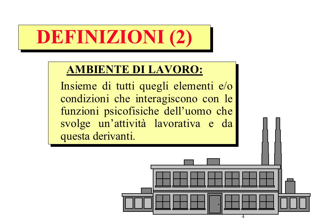 DEFINIZIONI (2) AMBIENTE DI LAVORO: