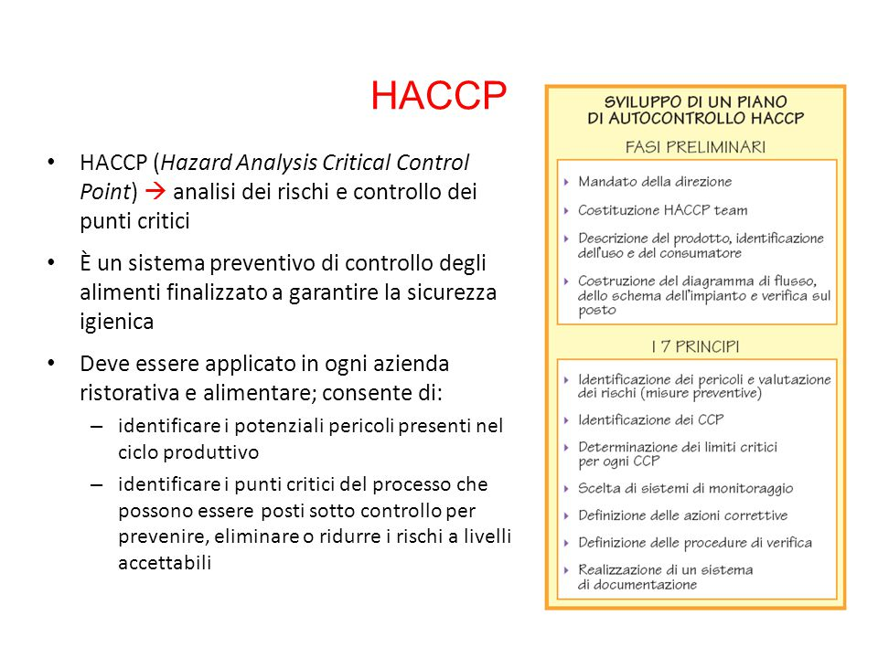 HACCP HACCP (Hazard Analysis Critical Control Point)  analisi dei rischi e controllo dei punti critici.