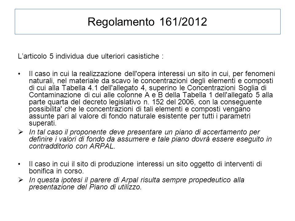 Regolamento 161/2012 L'articolo 5 individua due ulteriori casistiche :