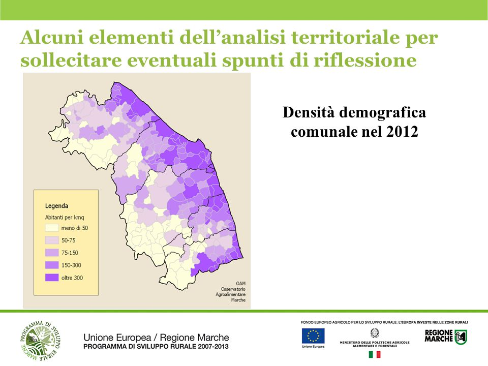 Densità demografica comunale nel 2012