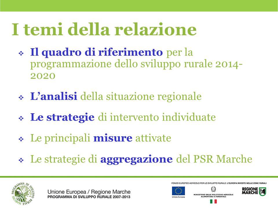 I temi della relazione Il quadro di riferimento per la programmazione dello sviluppo rurale 2014- 2020.
