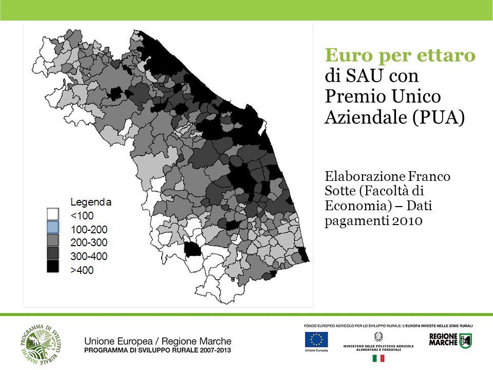 Euro per ettaro di SAU con Premio Unico Aziendale (PUA)