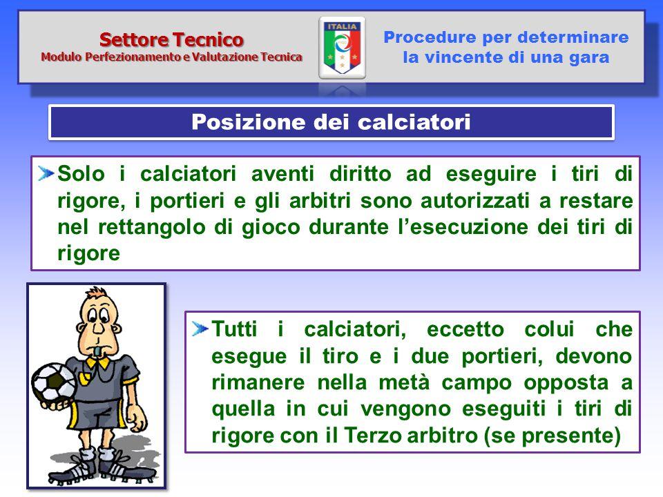 Modulo Perfezionamento e Valutazione Tecnica Posizione dei calciatori