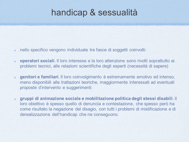 handicap & sessualità nello specifico vengono individuate tre fasce di soggetti coinvolti: