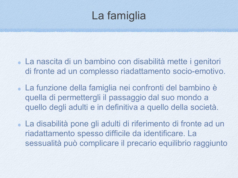 La famiglia La nascita di un bambino con disabilità mette i genitori di fronte ad un complesso riadattamento socio-emotivo.