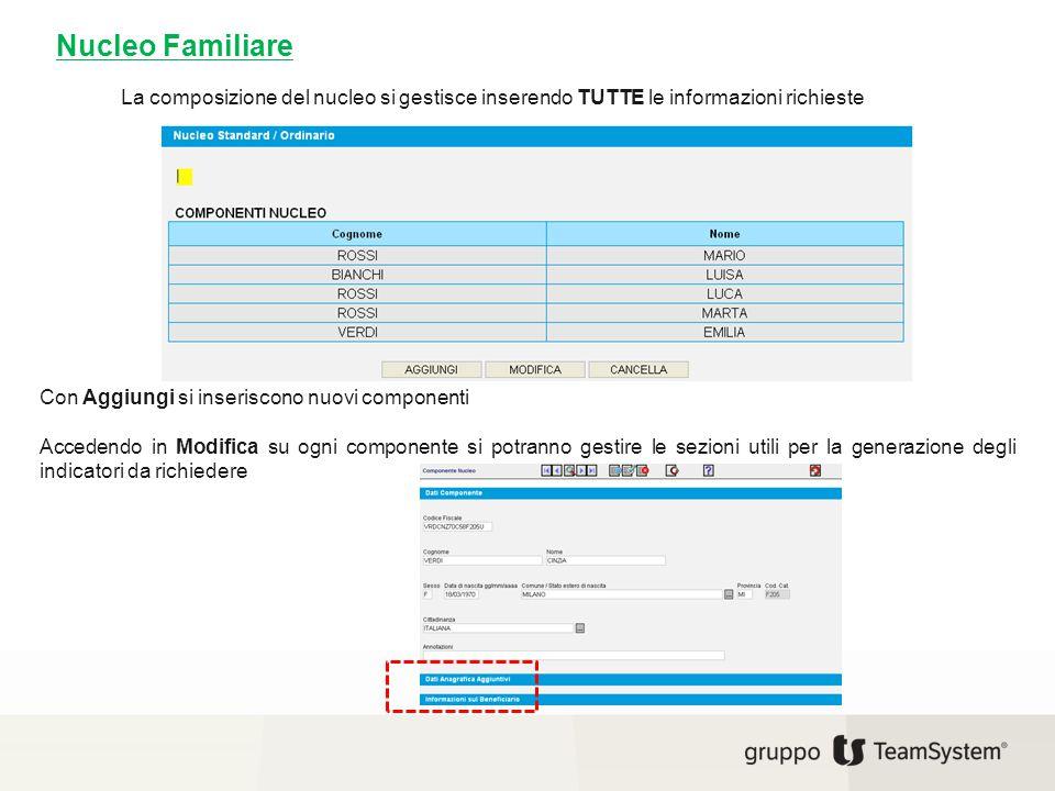 Nucleo Familiare La composizione del nucleo si gestisce inserendo TUTTE le informazioni richieste. Con Aggiungi si inseriscono nuovi componenti.