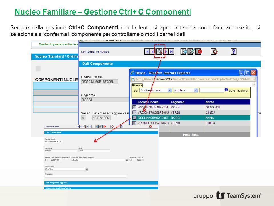 Nucleo Familiare – Gestione Ctrl+ C Componenti