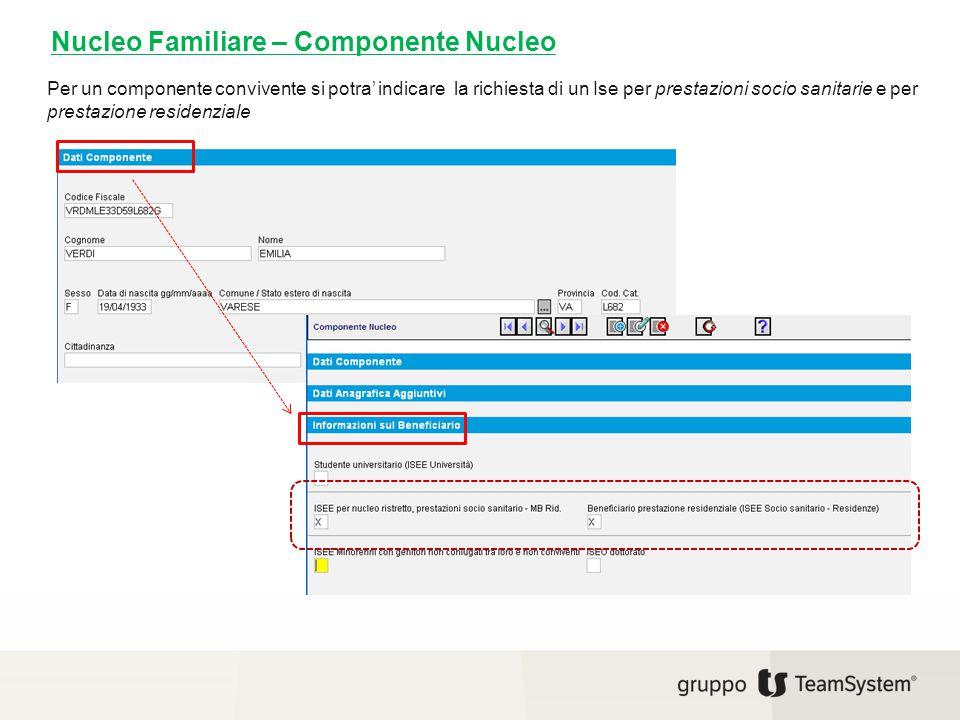 Nucleo Familiare – Componente Nucleo