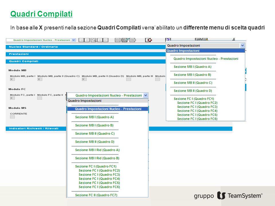 Quadri Compilati In base alle X presenti nella sezione Quadri Compilati verra' abilitato un differente menu di scelta quadri.