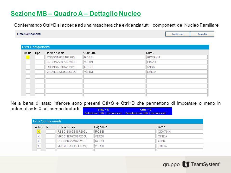 Sezione MB – Quadro A – Dettaglio Nucleo