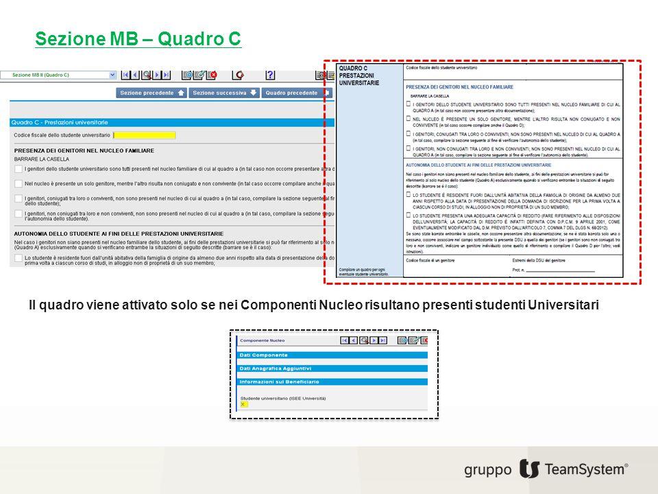 Sezione MB – Quadro C Il quadro viene attivato solo se nei Componenti Nucleo risultano presenti studenti Universitari.