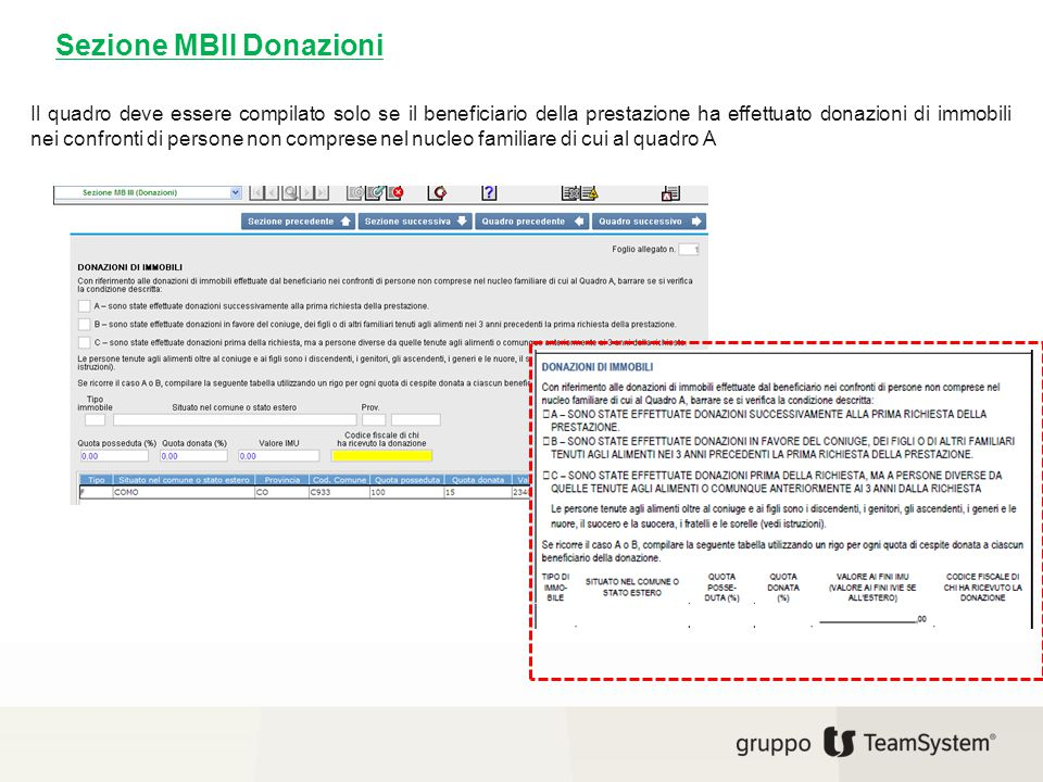 Sezione MBII Donazioni