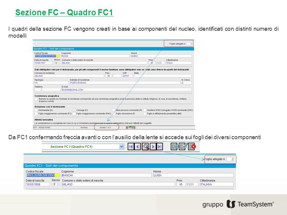 Sezione FC – Quadro FC1 I quadri della sezione FC vengono creati in base ai componenti del nucleo, identificati con distinti numero di modelli.