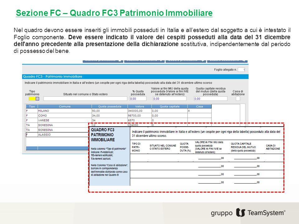 Sezione FC – Quadro FC3 Patrimonio Immobiliare