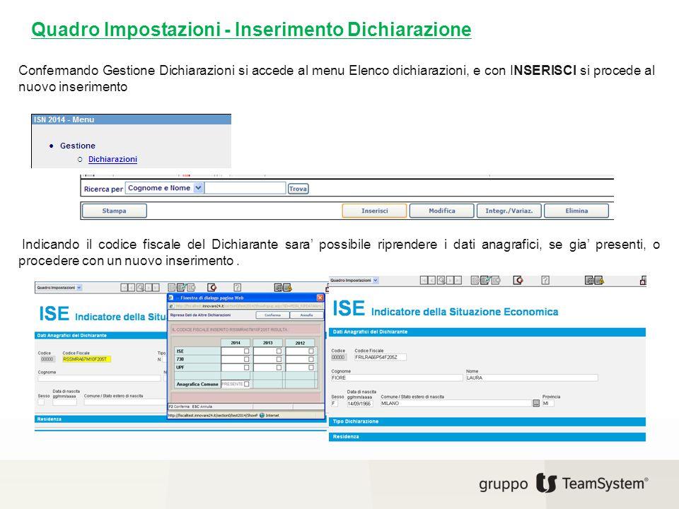 Quadro Impostazioni - Inserimento Dichiarazione