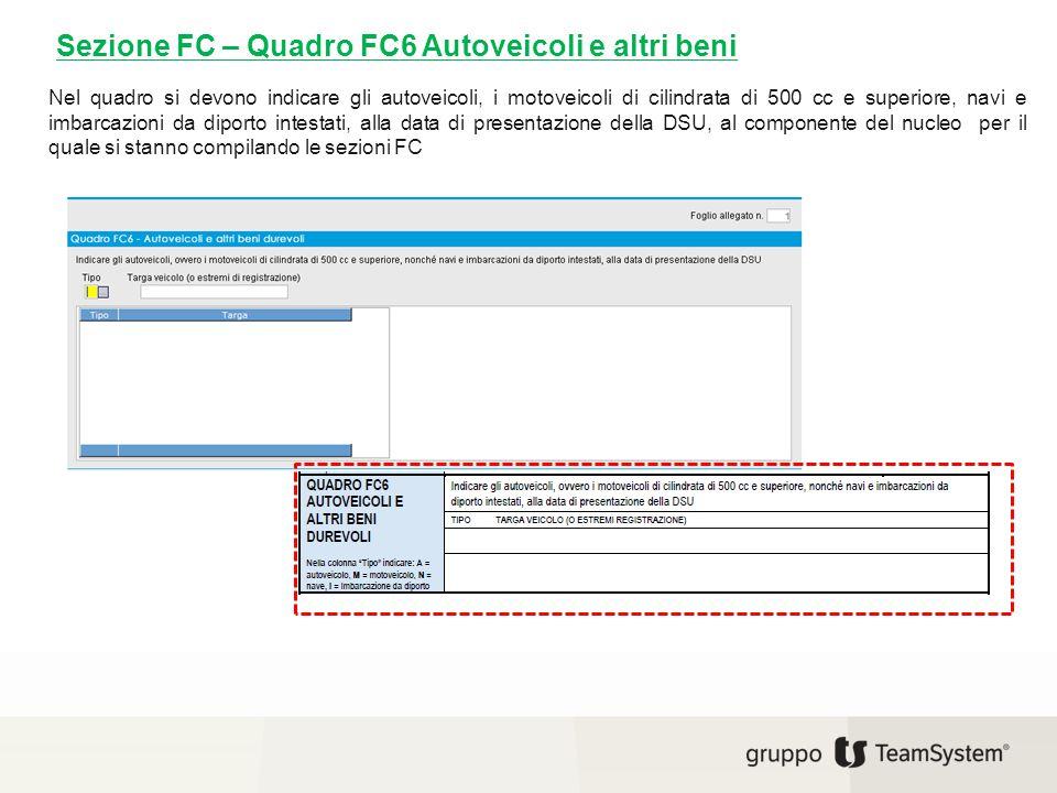 Sezione FC – Quadro FC6 Autoveicoli e altri beni