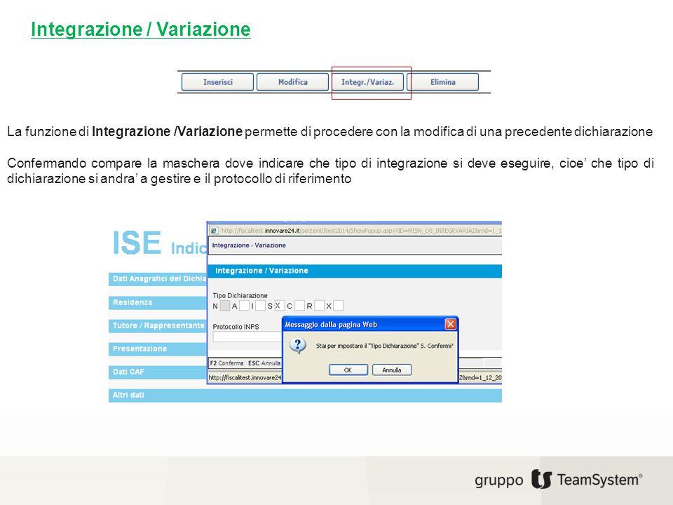 Integrazione / Variazione