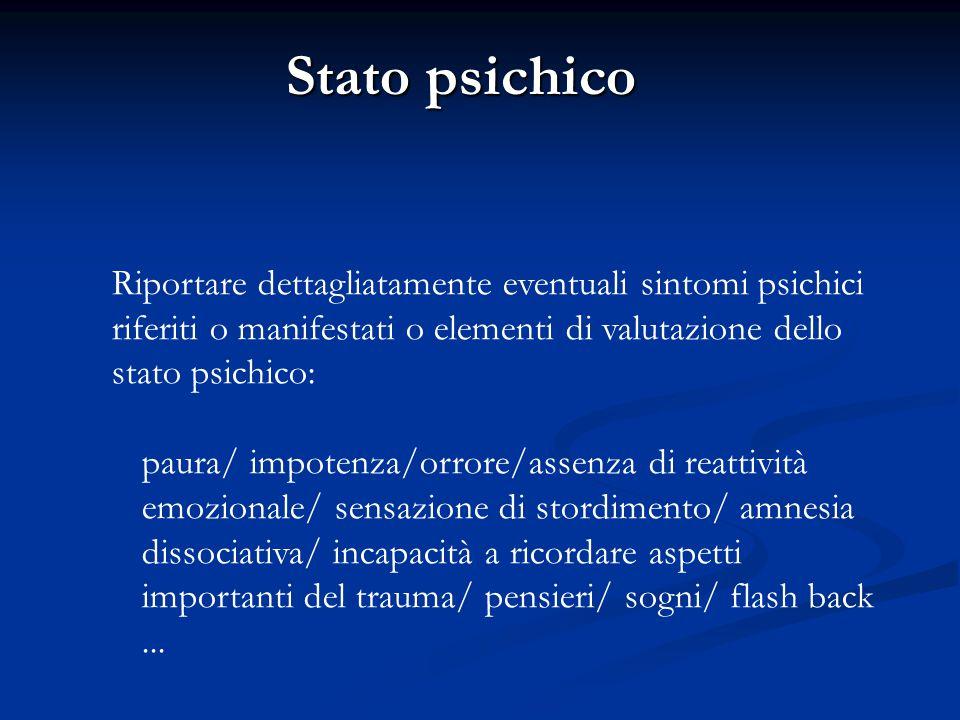 Stato psichico Riportare dettagliatamente eventuali sintomi psichici riferiti o manifestati o elementi di valutazione dello stato psichico: