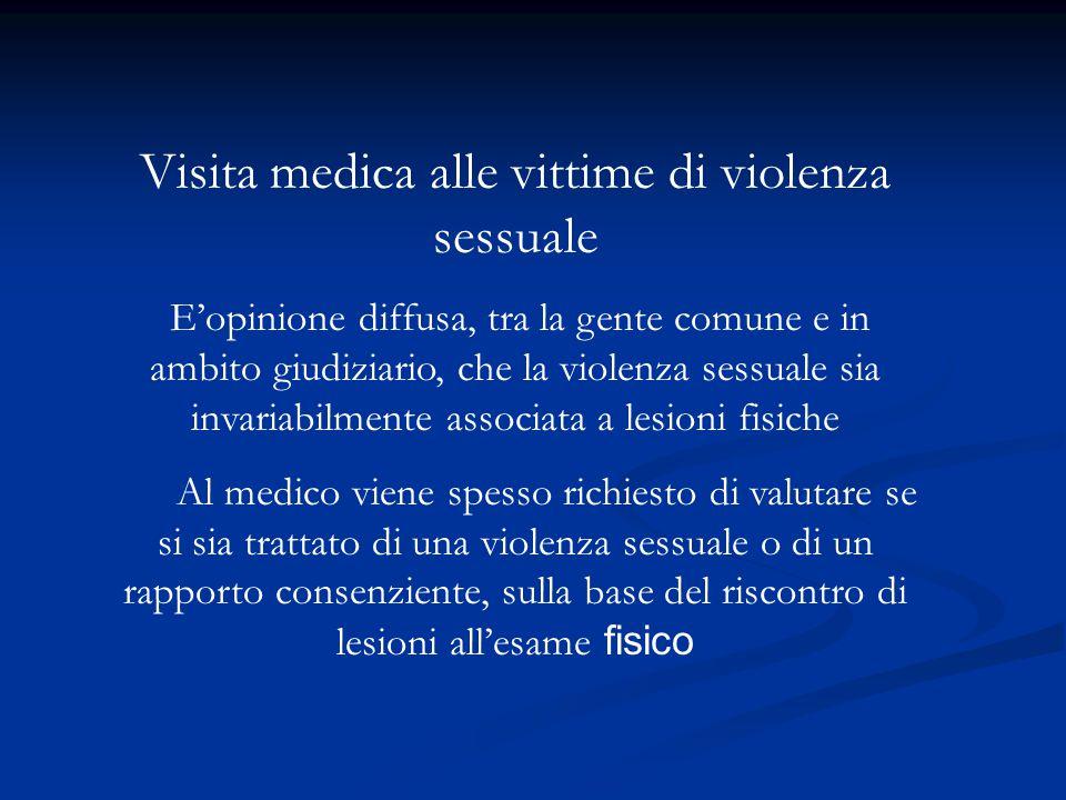 Visita medica alle vittime di violenza sessuale