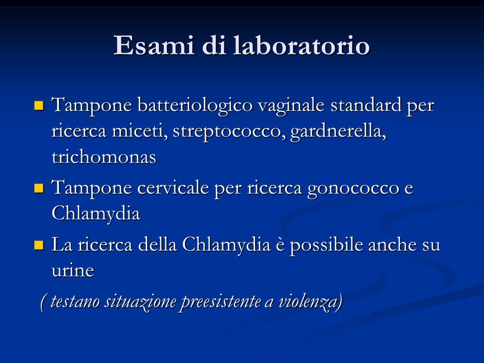 Esami di laboratorio Tampone batteriologico vaginale standard per ricerca miceti, streptococco, gardnerella, trichomonas.