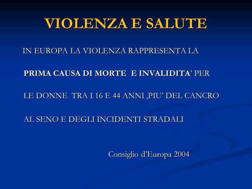 VIOLENZA E SALUTE IN EUROPA LA VIOLENZA RAPPRESENTA LA