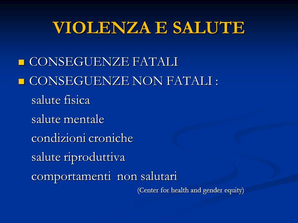 VIOLENZA E SALUTE CONSEGUENZE FATALI CONSEGUENZE NON FATALI :