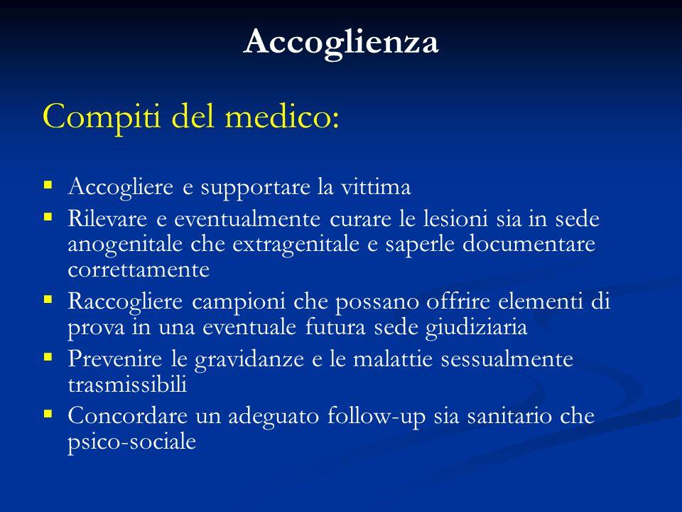 Accoglienza Compiti del medico: Accogliere e supportare la vittima