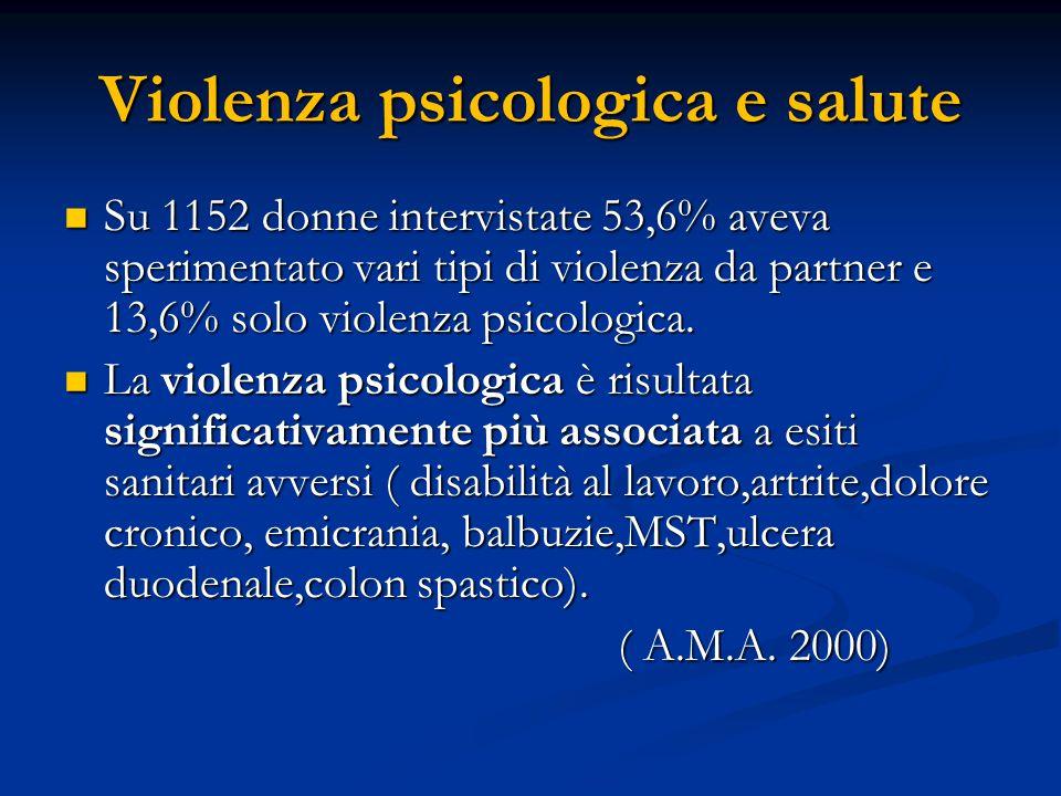 Violenza psicologica e salute