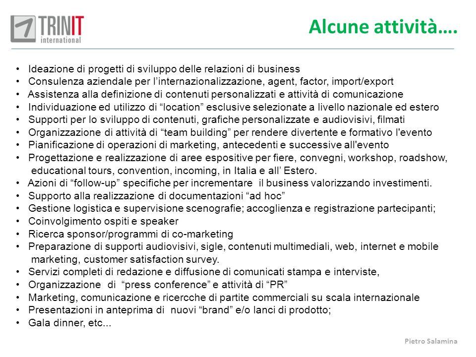 Alcune attività…. Ideazione di progetti di sviluppo delle relazioni di business.