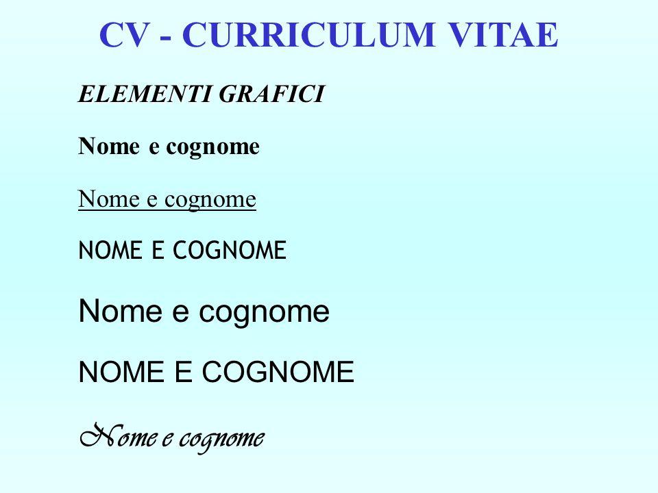 CV - CURRICULUM VITAE ELEMENTI GRAFICI Nome e cognome NOME E COGNOME