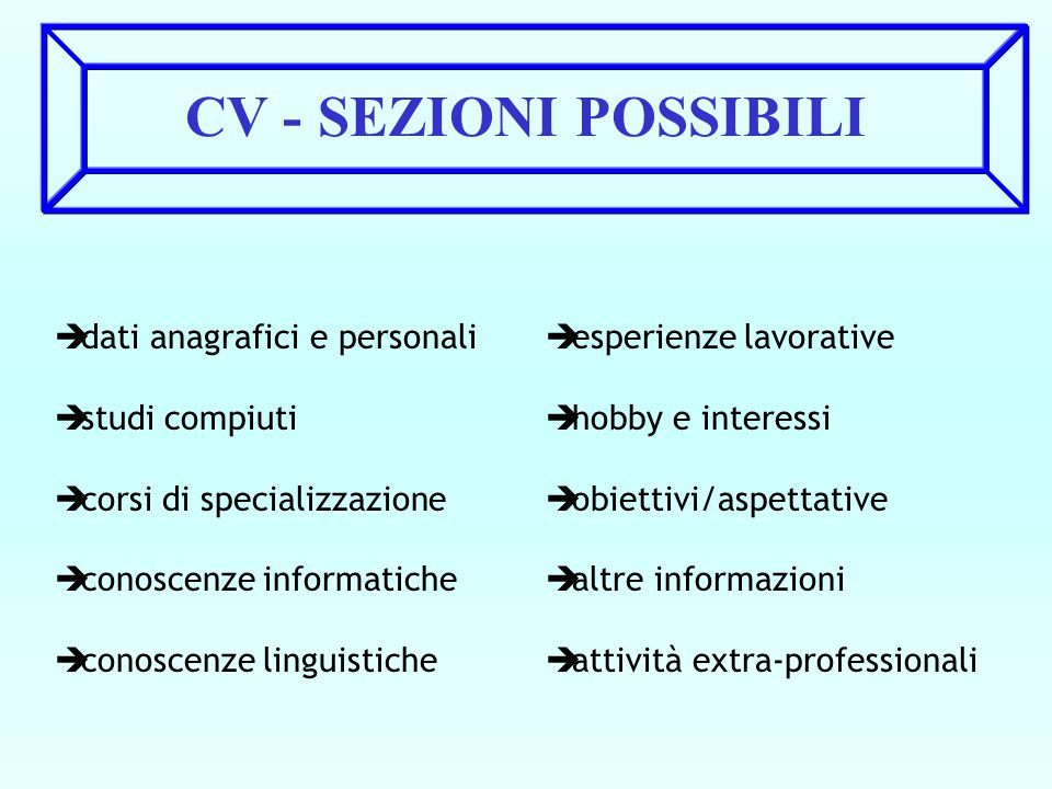 CV - SEZIONI POSSIBILI dati anagrafici e personali studi compiuti