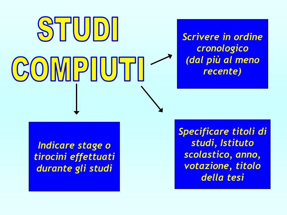 STUDI COMPIUTI. Scrivere in ordine cronologico (dal più al meno recente)