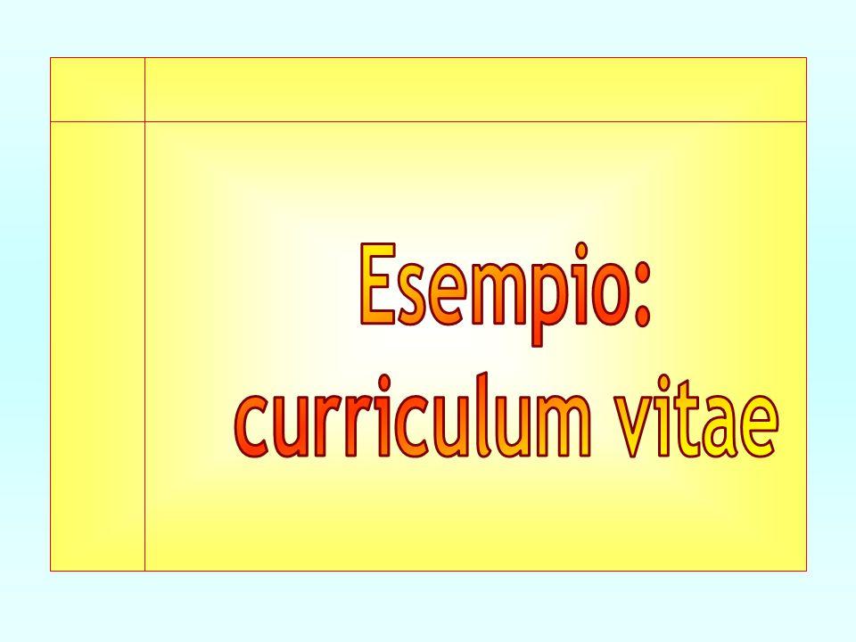 Esempio: curriculum vitae