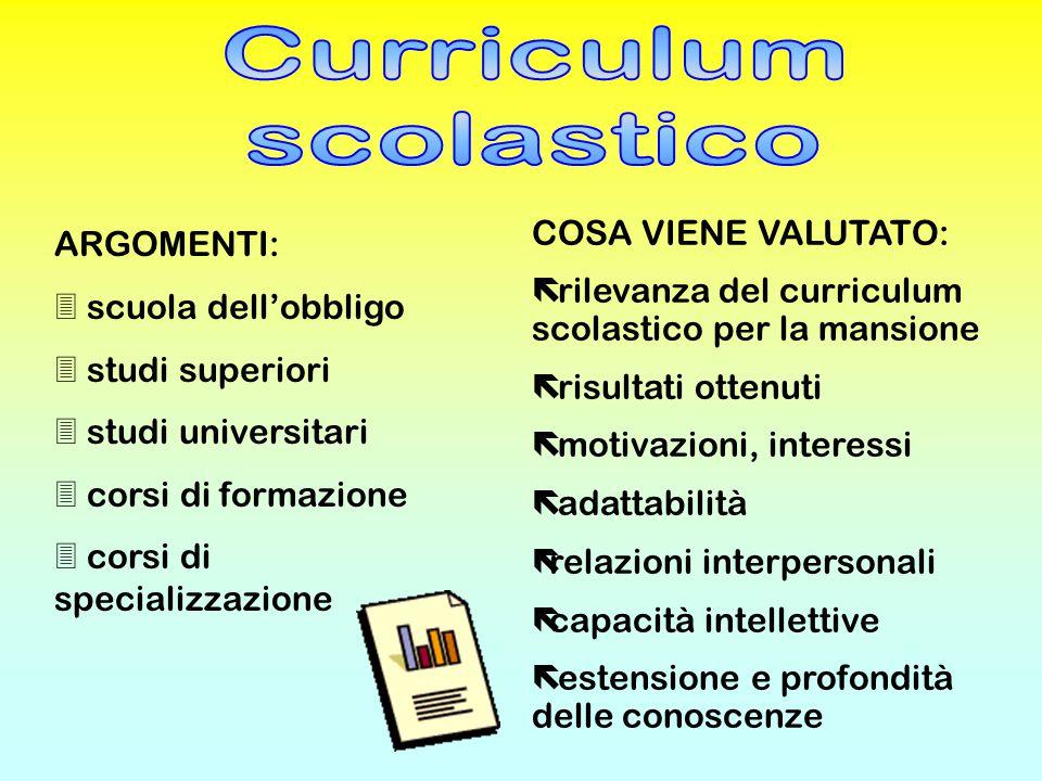 Curriculum scolastico COSA VIENE VALUTATO: ARGOMENTI: