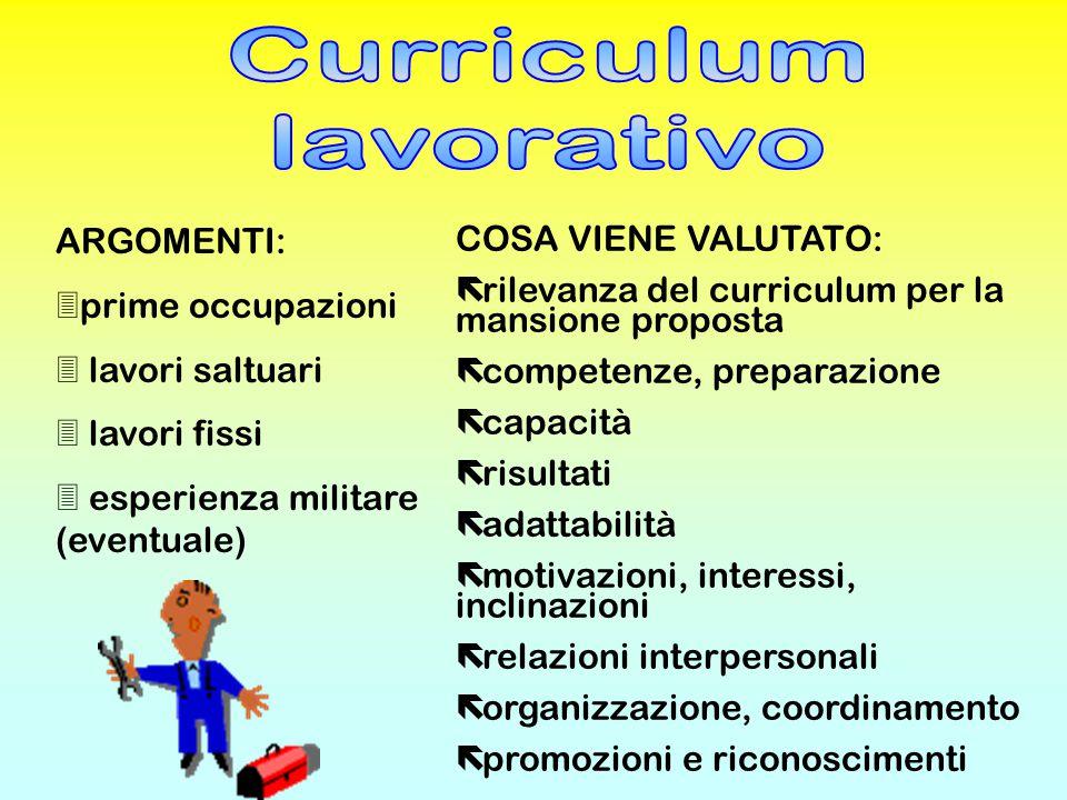 Curriculum lavorativo ARGOMENTI: COSA VIENE VALUTATO: